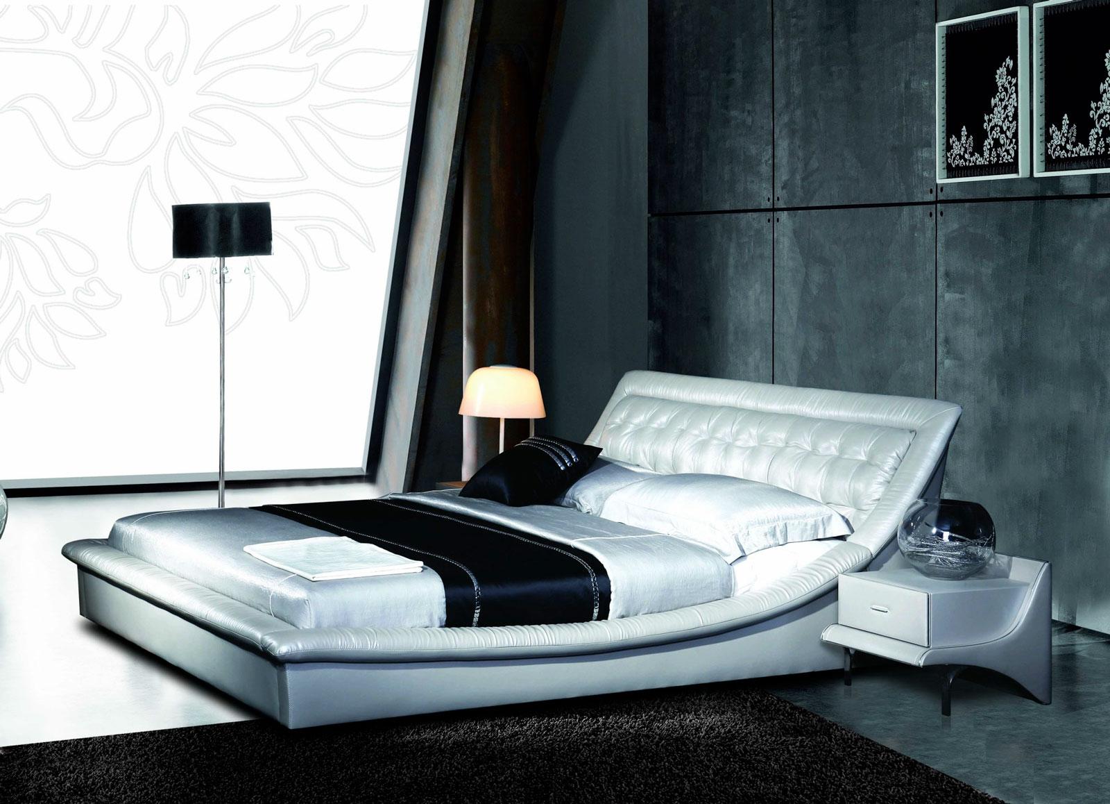 Двуспальная кровать AY-252B с отделкой из Эко Кожи или из натуральной кожи
